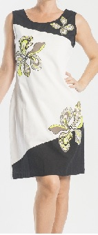 White Lime Floral Print Shift Cotton Dress S12,14,22